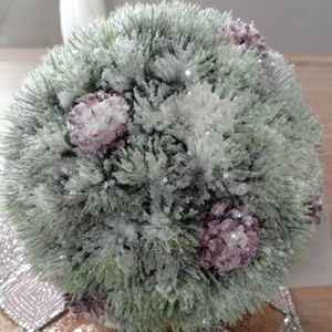 Other - Faux FLOCKED Pine CONE KISSING BALL VASE FILLER